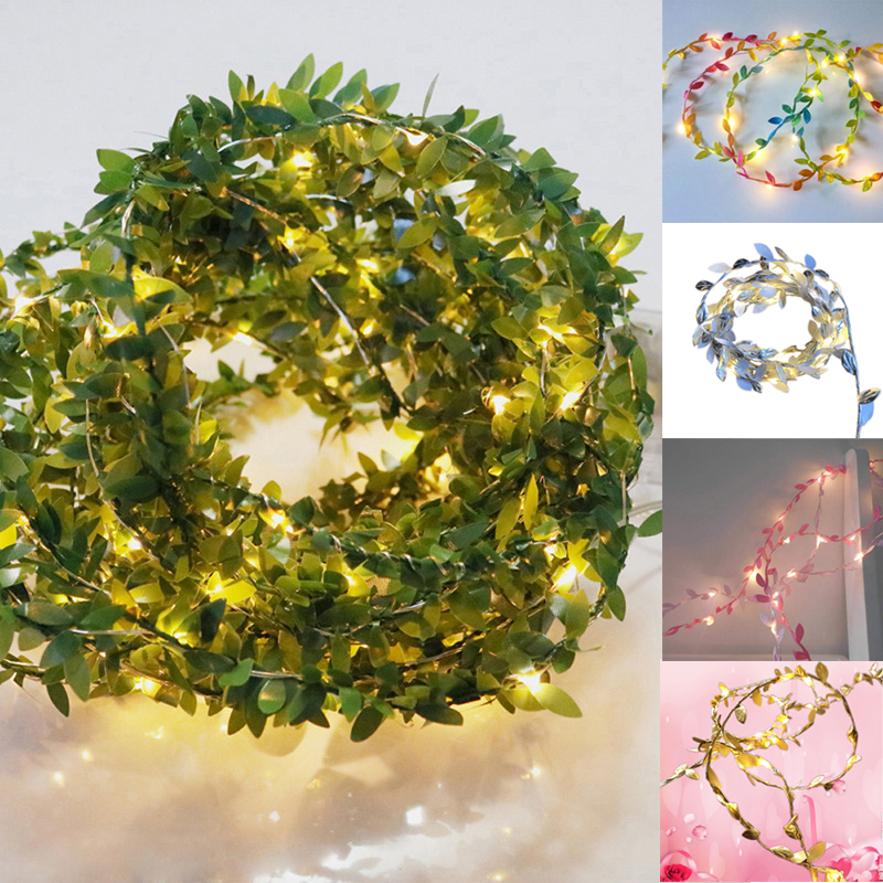 String Lights Green Leaf Garland Vine Fairy Lights 4.5v 20LED 30LED 50LED 100 LED Flexible Copper Battery Powered Party Decor