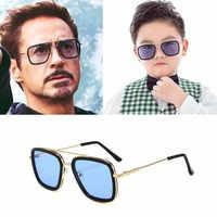 Lentes Tony stark Kinder Sonnenbrille Legierung Gläser Eisen Mann Sonnenbrille Kinder 8-16 Jahre Alten Jungen Und Mädchen kinder zonnebrillen