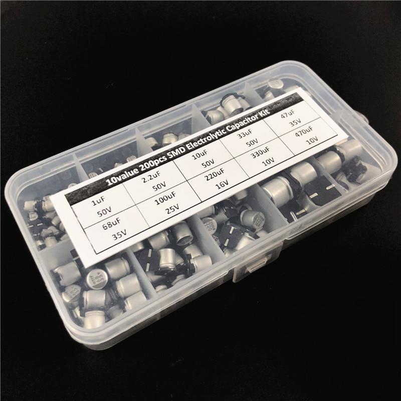 10values 200pcs SMD Electrolytic Capacitor Assorted Kit 10V~50V 1uF~470uF With Storage Box