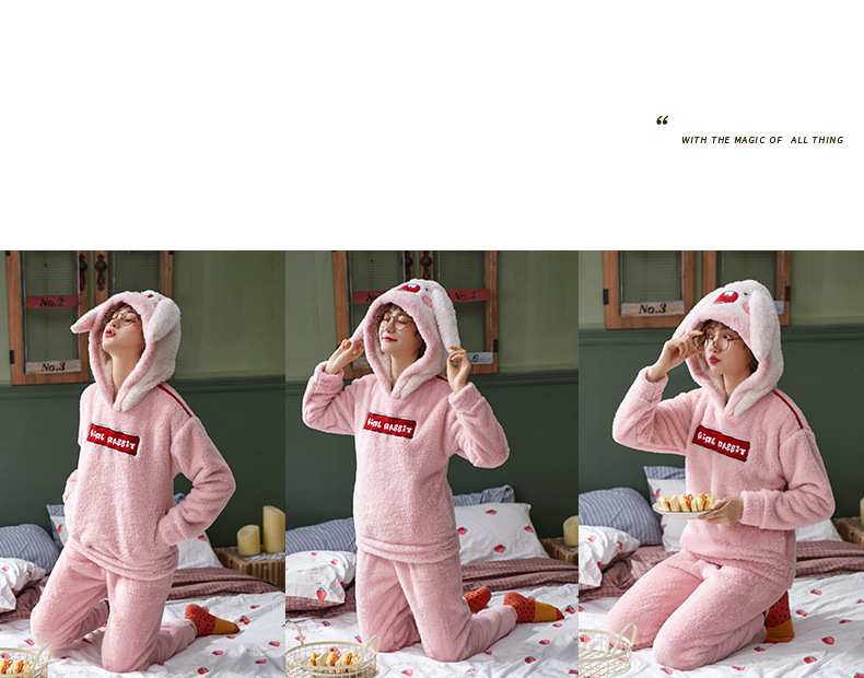 Plus Large Size M - 5XL Warm Pajamas Set Girl Women Cartoon Flannel Thickened Coral Velvet Long Sleeve Pink Rabbit Home Clothes 33