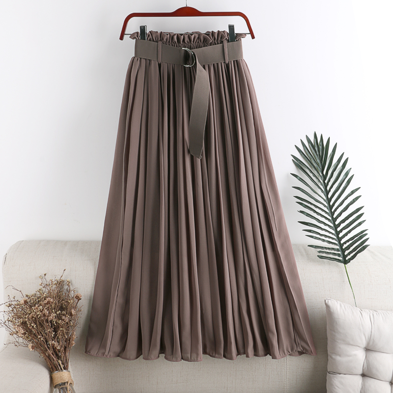 Summer Skirt With Belt Woemn 2020 New Elegant Elastic Thin Long Solid Color Chiffon Skirt Pleated Midi Skirt Office Lady