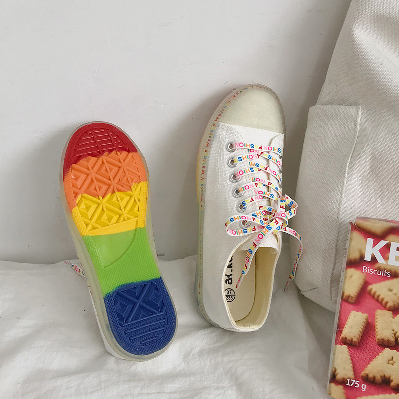 2019 Summer New Style Jelly Bottom Canvas Shoes Women's Versatile Korean-style Students Rainbow White Shoes Low Top CHIC Skate S