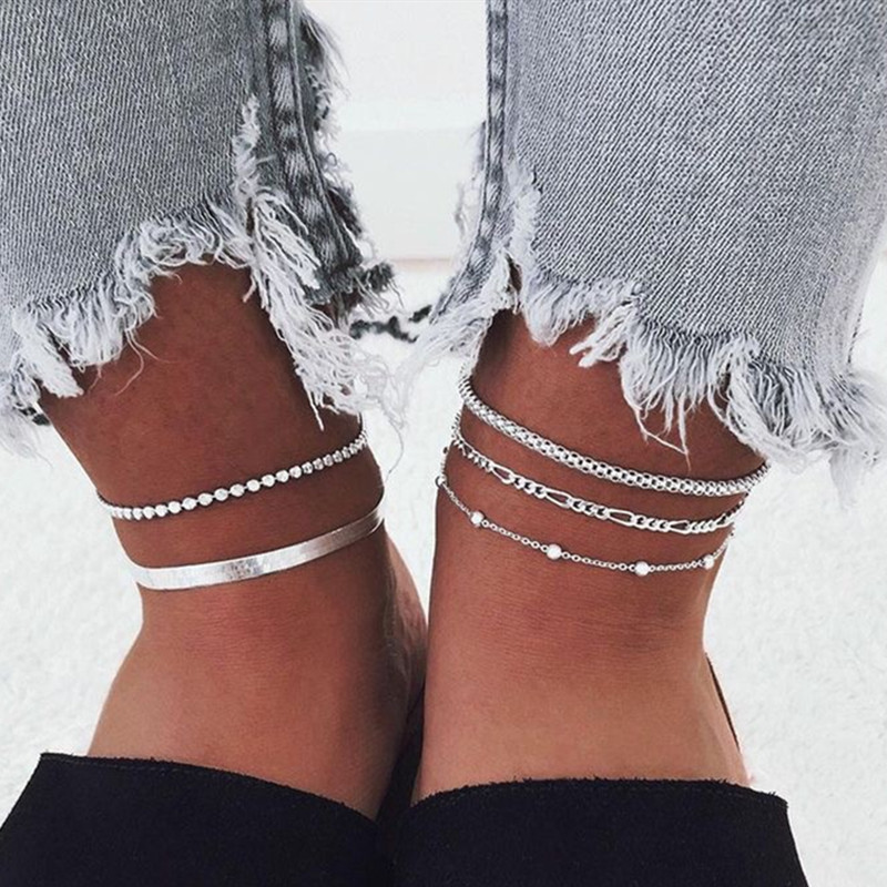 5 Pcs/Set Multilayer Beads Snake Chain Anklets Set for Women Barefoot Sandals Ankle Bracelet on Leg Foot Jewlery Gifts