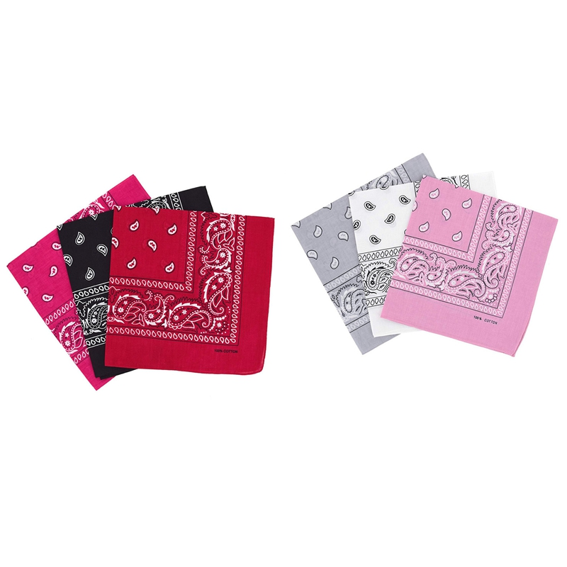 2 Set Of 3 Bandanas Paisley Man and Woman 57 X 57 Cm , White + Light Gray + Pink & Black + Red + Fuchsia