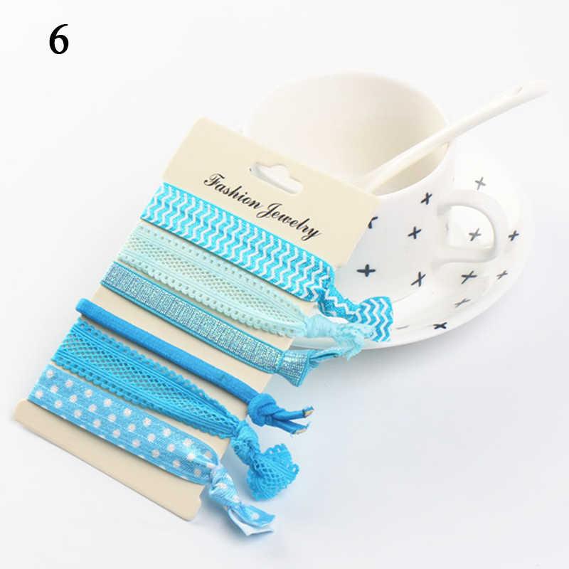 6 adet/takım elastik saç bağları çocuklar kızlar için düğümlü lastik bantlar saç aksesuarları şerit saç halatı sevimli çiçek baskılı şapkalar