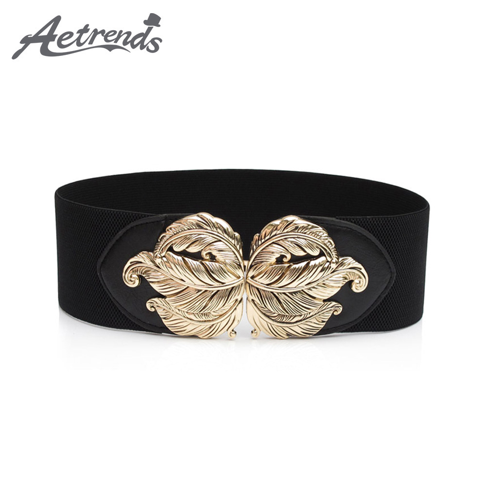 [AETRENDS] Women's Vintage Wide Elastic Stretch Waist Belt For Dresses D-0117