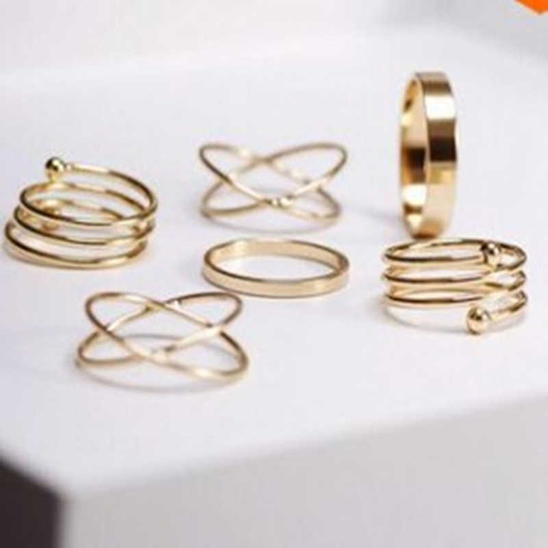 EDS Gold Rings Punk Vintage Women 6PCS Ring Set Twist Finger Ring 2019 Knuckle Female Wedding Engagement Rings Fashion Jewelry