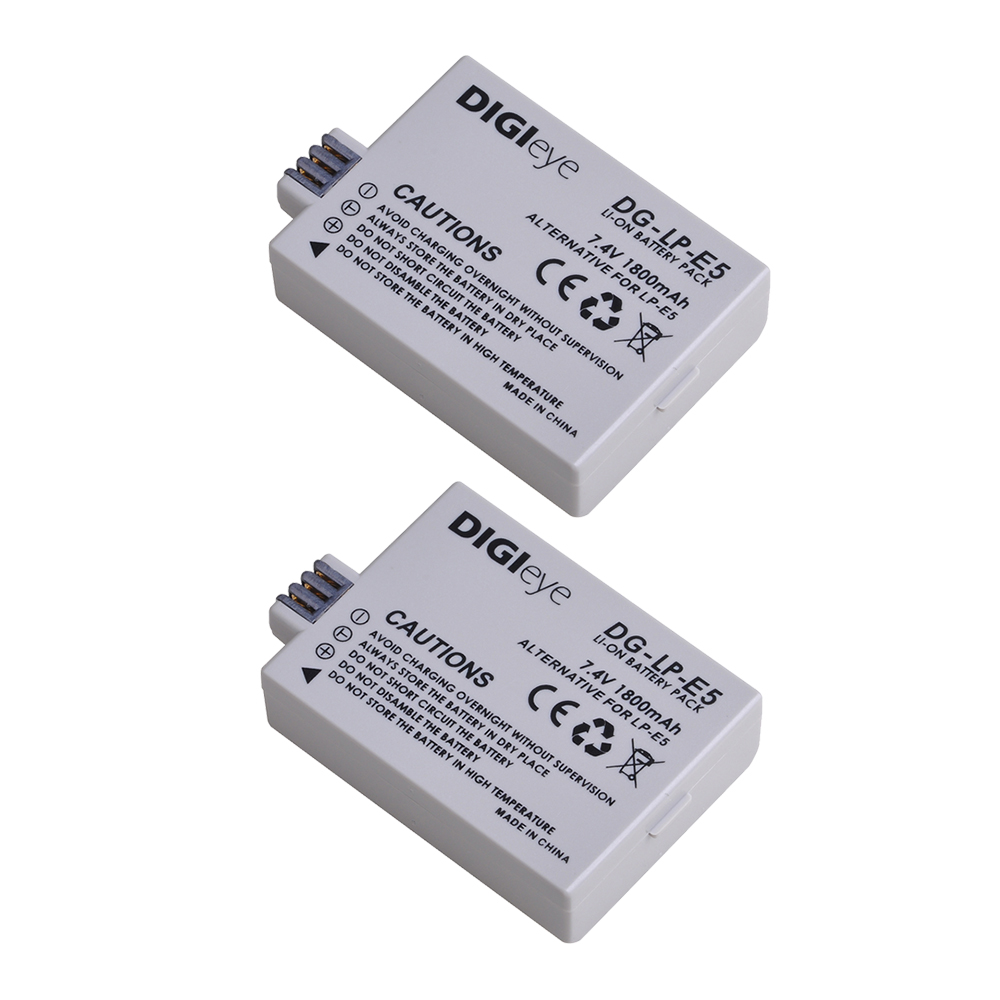 2Pcs 1800Mah LP-E5 LPE5 Batterij Voor Canon Eos Rebel Xs Rebel T1i Rebel Xsi 1000D 500D 450D Kus x3 Kus X2 Kiss F Camera