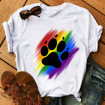 Women's Colorful Puppy Paw T-Shirts 1