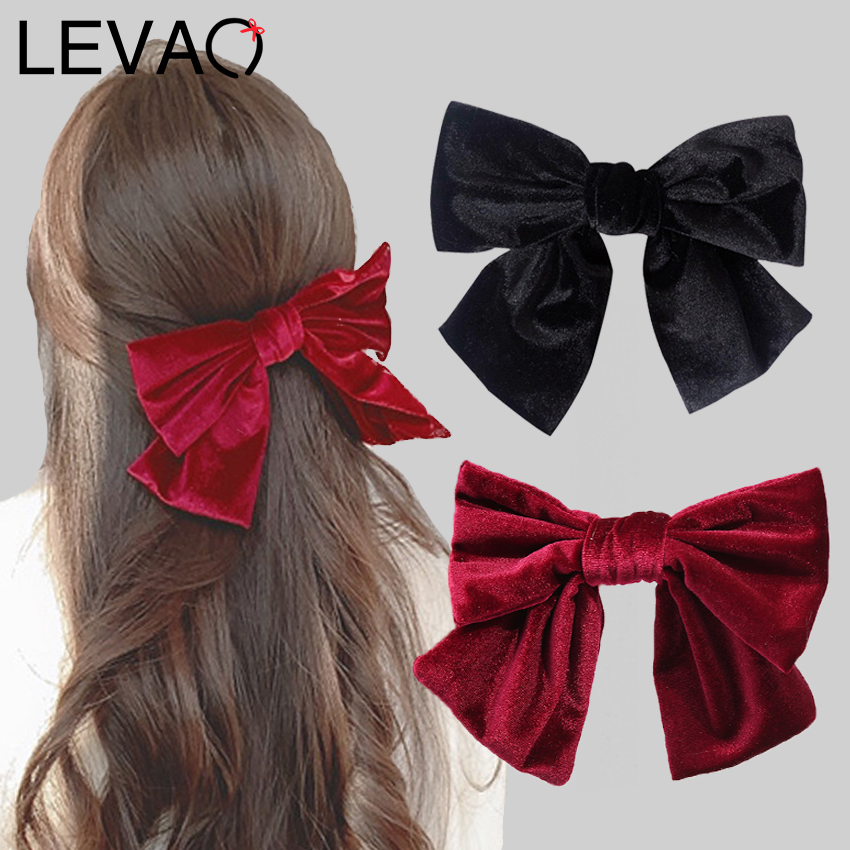 Levao Velvet Ribbon Bows Spring Clips For Girls Women Hair Accessories Solid Hair Ties Barrettes Big Bowknot Hairpins Headdress