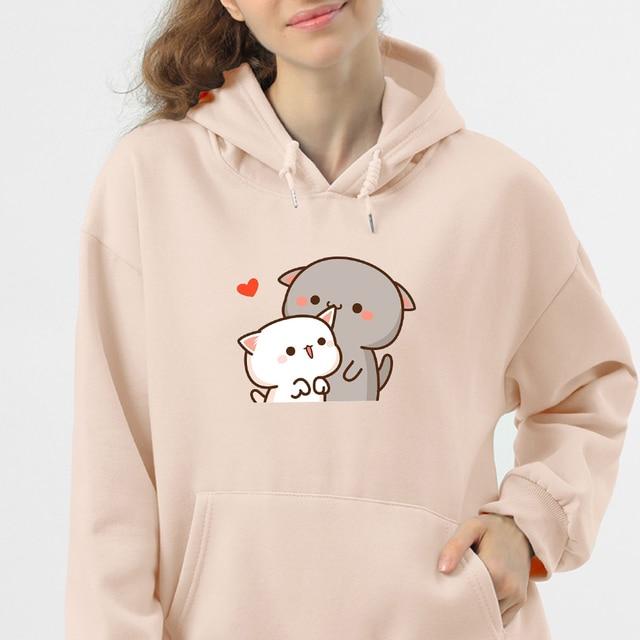 Women Hoodie Kawaii Couple Sweatshirt Cotton Long-sleeved Harajuku Hoodies Pocket Pattern Print Hoody Plus Size Korean Clothes 1