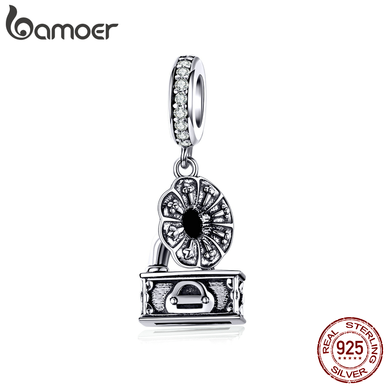 Bamoer Retro Gramophone Phonograph Pendant Charm Fit Original Bracelet Jewelry Making 925 Sterling Silver Jewelry BSC157