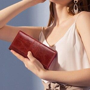 Image 2 - KAVIS Echtem Leder Frauen Kupplung Brieftasche und Weibliche Geldbörse Portomonee Clamp Für Telefon Tasche Karte Halter Handlich Passport walet