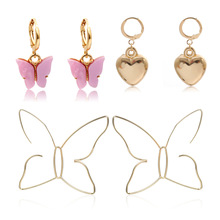 Fashion jewelry with heart-shaped colorful geometric earrings temperament simple hollow butterfly suit female