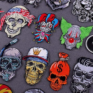 Skull/Punk Patch Thermoadhesive Embroidery Patch Iron On Patches For Clothes Embroidered Patches For Clothing Applique Badge DIY