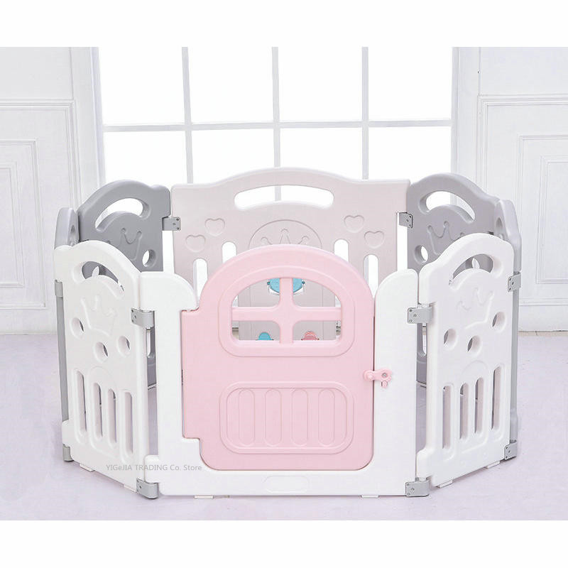 Children's Playpen Indoor Outdoor, 8 Panel Activity Center Safety Playard with Lock Door, Toddler Safety Fence Baby Fence