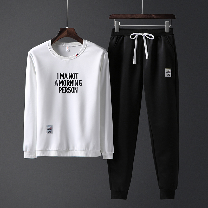 Spring And Autumn Casual Men'S Wear 2018 New Style Trend Two-Piece Casual Pants Long Sleeve Printed Lettered Hoodie Suit Men's