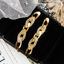 Exaggerated Long Tassel Geometric Earrings Female Temperament Korean Fashion Big 925 Silver Drop