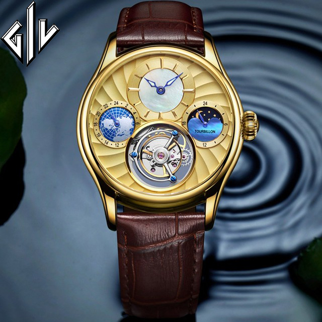 GIV Tourbillon Watch Men Mechanical Business Watch Top Luxury Brand Sapphire Gold 50M Waterproof Male Relogio Montre Homme