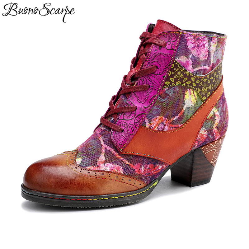 Ethnic Ankle Boots Printed Flowers Short Boots Chunky Heels Ankle Botas Mujer Casual Bohemian Lace Up Shoes Patchwork Heel Shoes