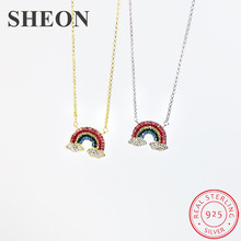 SHEON Personalized 925 Sterling Silver Pave Colorful CZ Rainbow Pendant Necklaces For Women Silver Jewelry Valentine Gift цена