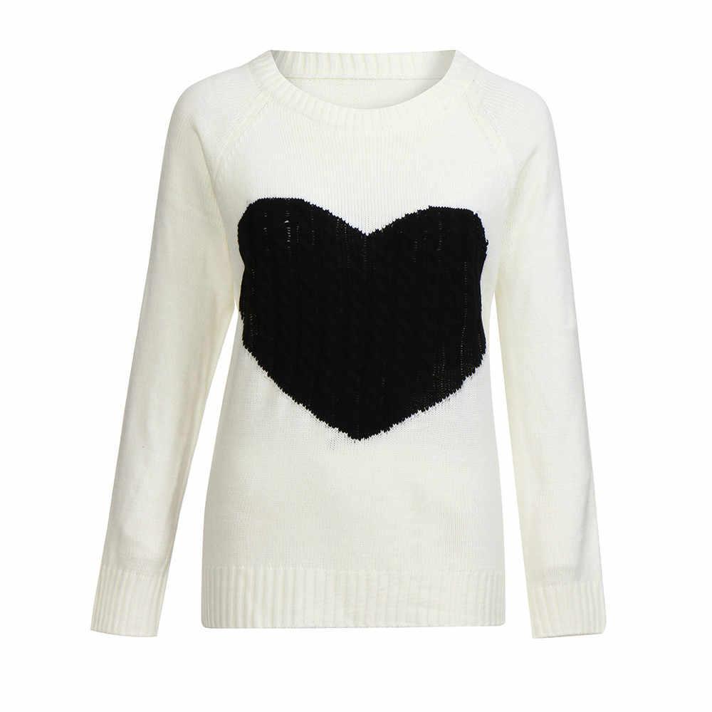 세련된 바 가을 겨울 스웨터 여성 사랑 풀오버 긴 소매 스웨터 슬림 하트 니트 점퍼 니트 sueter mujer