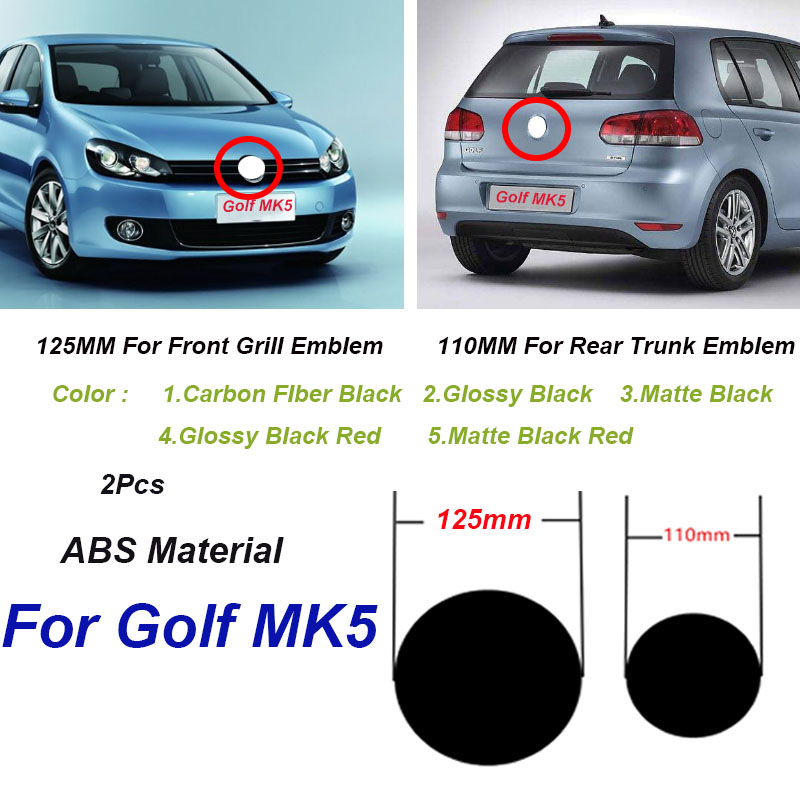 2Pcs 125mm 110mm ABS Car Front Grill Badge Rear Trunk Emblem Logo for Golf MK5