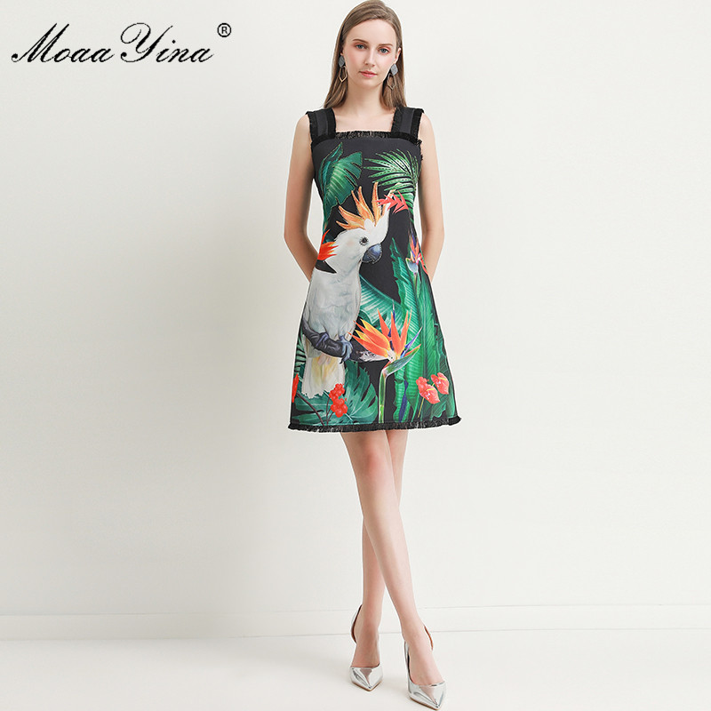 Image 3 - MoaaYina Fashion Designer dress Spring Summer Womens Dress Green  leaf Parrot Print Beading Spaghetti strap DressesDresses   -