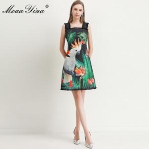 Image 3 - MoaaYina robe de créateur de mode printemps été femmes robe vert feuille perroquet impression perles Spaghetti sangle robes