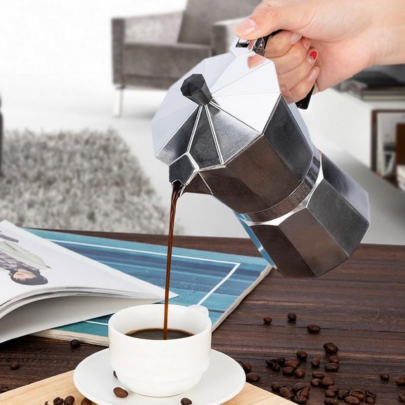 Aluminum Coffee Maker Durable Moka Cafeteira Expresso Percolator Pot Practical Moka Coffee Pot 50/100/150/300/450/600ml #25
