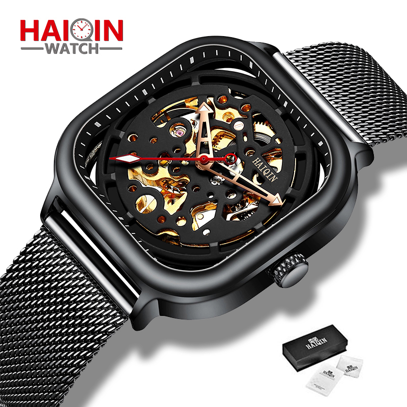 New Fashion HAIQIN Mechanical Men's Watches Luxury Business Military Sports Wristwatch Waterproof Stainless Steel reloj hombre
