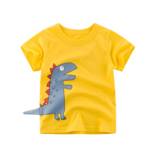 цена на Boys & Girls Cartoon T-shirts Kids Dinosaur Print T Shirt For Boys Children Summer Short Sleeve T-shirt Cotton Tops Clothing