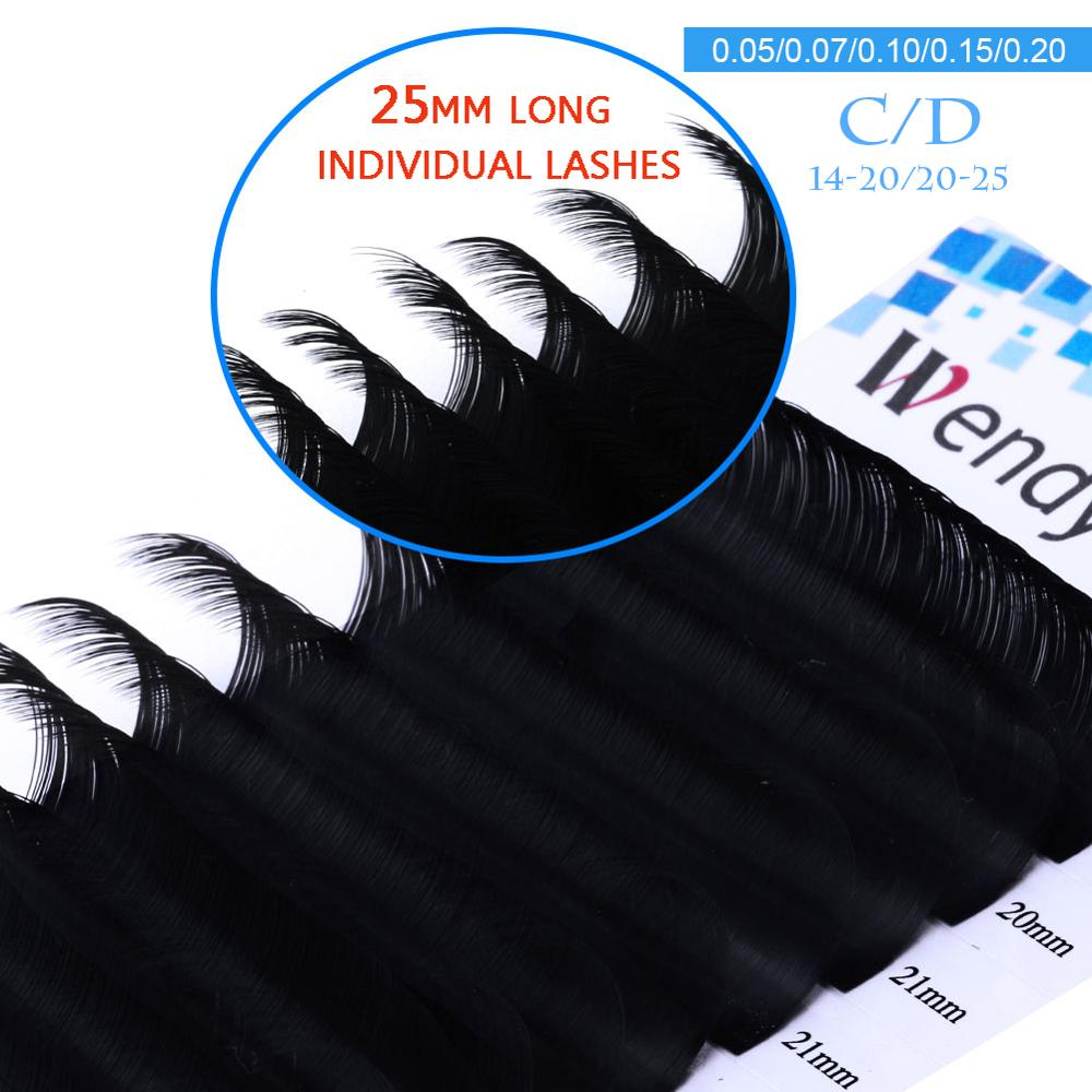 12 linhas mix-comprimento individual cílios extensão 20-25mm mix clássico natural longo olho cílios coréia volume de seda lash extensão