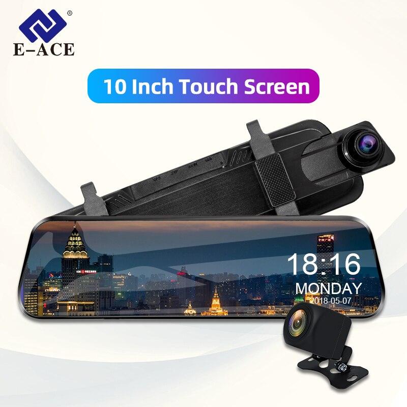 E-ACE 10 cal ekran dotykowy samochodu Dvr przesyłania strumieniowego widok z tyłu lustro Dash kamera FHD 1080P rejestrator wideo z dwoma obiektywami z tylnej kamery