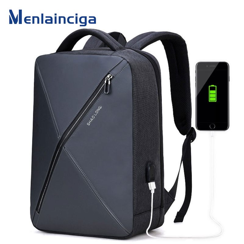 MENLAINCIGA New Design Men Backpack USB Charge 15.6inch Laptop Backpack Waterproof Multifunction Business Travel Backbags