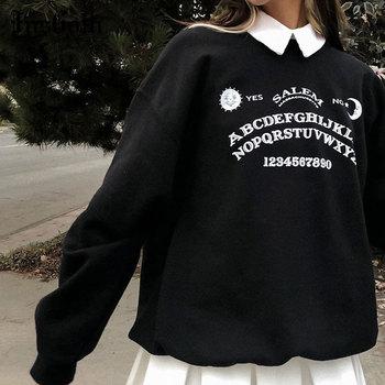 InsGoth czarne Grunge ponadgabarytowe bluzy Gothic Harajuku Streetwear Chic list bluzy z kapturem z nadrukami kobiety jesień bluzy z długim rękawem tanie i dobre opinie COTTON POLIESTER REGULAR CN (pochodzenie) Na wiosnę jesień Drukowanie Pełne STANDARD Sukno 26407K 395g Swetry WOMEN Patchwork