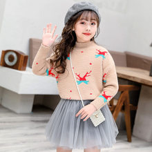Christmas Baby Girls Sweaters Winter 2019 Toddler Clothes With Deer Kids Knitted Mink Sweater Print Pullover Tops