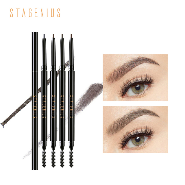 STAGENIUS Eyebrow Pencil Tint Eye Makeup Round Head Long Lasting Waterproof Natural Microblading Eyebrow Pencil Gray Brown