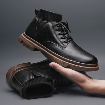 autumn winter genuine leather ankle boots chelsea boots men shoes warm vintage classic male casual winter shoes men snow boots 2020 Winter Snow Boots Men Warm Casual Leather Shoes Men Comfortable Flat Lace-up Shoes Male Hiking Boots