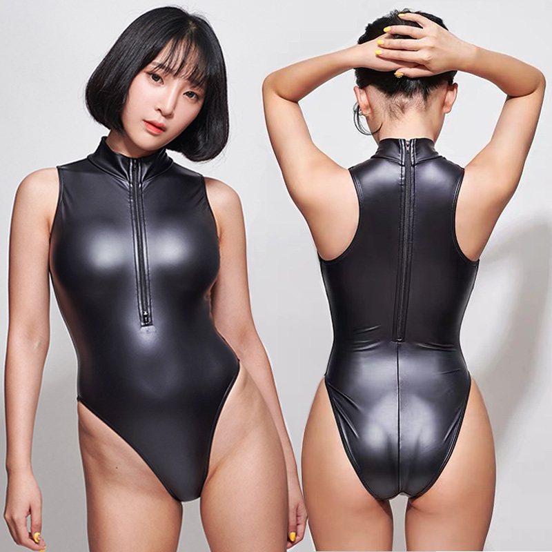 Lunamy Sexy Matte Black Leotards Front Double Open Zipper Sleeveless Bodysuit One Piece Swimwear Women Swimsuits Japanese LEOHEX