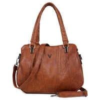 2019 Retro Women Leather Handbags Three-layer Pocket Female Messenger Bags Women Luxury Shoulder Bag Fashion Casual Ladies Tote