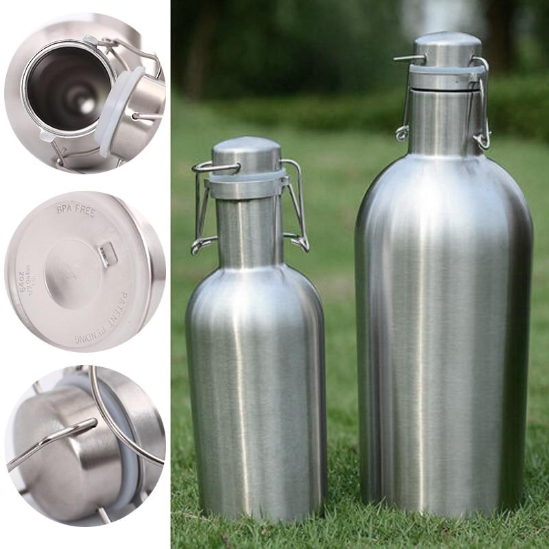 Mayitr 1 шт., 1 л/2 л, 32 унции/64 унции, бутылка для воды из нержавеющей стали, термос для воды, пива, уличный изоляционный бочонок для спортивной бут...