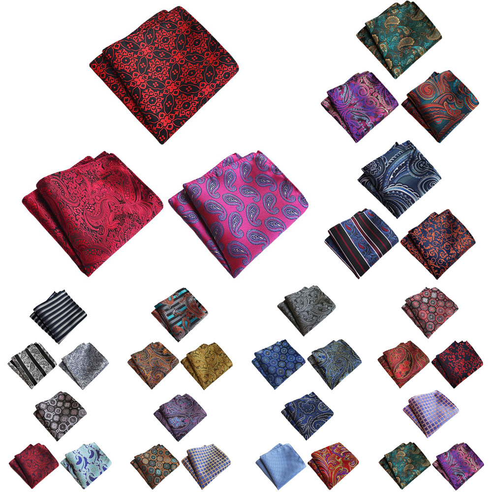 3 Packs Men Classic Floral Paisley Stripe Pocket Square Wedding Handkerchief BWTHZ0373