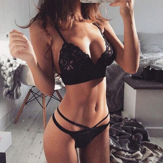 Women Sexy Lingerie Lace Floral Bralette Bra Brief Sets Crop Top Thong Sheer Mesh Triangle Bustier Soft See Through Underwear