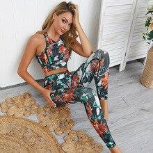 2020 w nowym stylu 2 sztuka biustonosz + spodnie damskie dres sportowy strój sportowy joga zestaw siłownia garnitur ubrania dla sportu zwyczaje