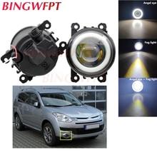 2PCS Car H11 LED Fog Lamps Angel Eye light with Glass len 12V For Citroen C-Crosser 2007-2012 For Citroen C4 Grand Picasso UA_