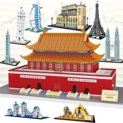 Famosa arquitetura paris torre tiananmen pirâmide modelo blocos de construção crianças tijolos brinquedos construção nano blocos brinquedo sem caixa