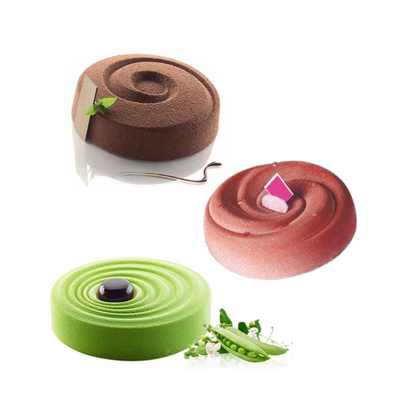 1/3 pçs em forma de espiral molde de bolo de silicone sobremesa mousse forma de cozimento pan moldes de chocolate ferramenta de decoração do bolo
