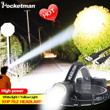 200000LM XHP70.2 Led Headlamp XHP70 Yellow White Led Headlight Fishing Camping Zoom USB Rechargeable Torch Use 3*18650 batteries