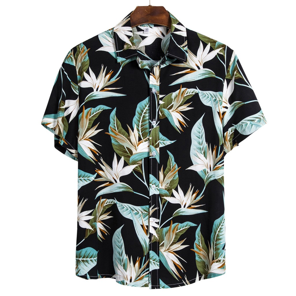 Men Ethnic Short Sleeve Casual Printing Hawaiian Shirt Blouse Plus Size M-3XL Shirts Camisa Social Masculina рубашка 2020 Summer